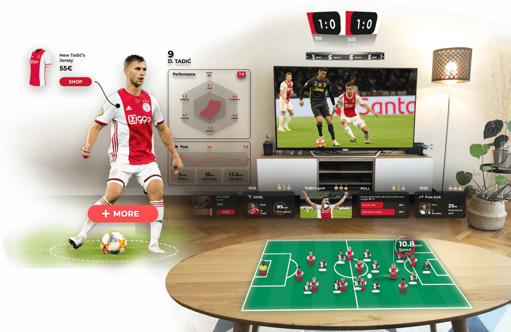 AR fan experience football TV broadcast