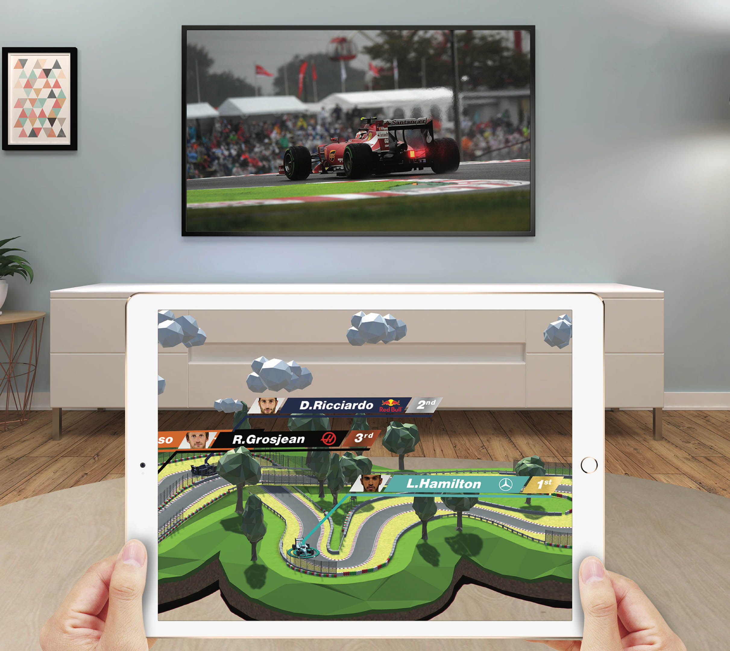augmented reality formula 1 race track